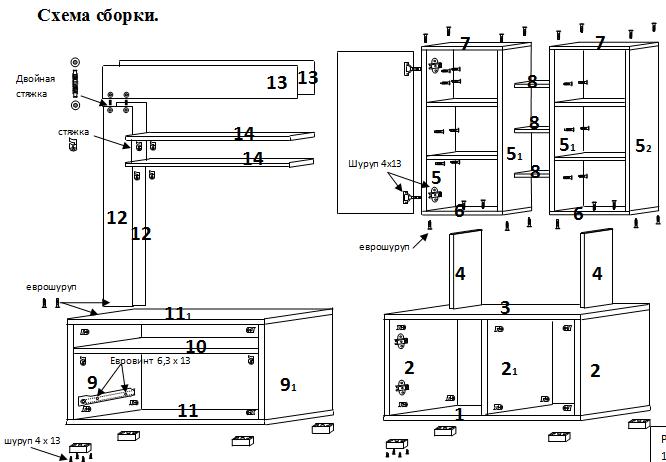 Схема сборки стенка Блюз РИИКМ