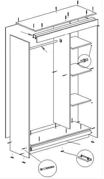 Шкаф купе Мираж 11 схема сборки