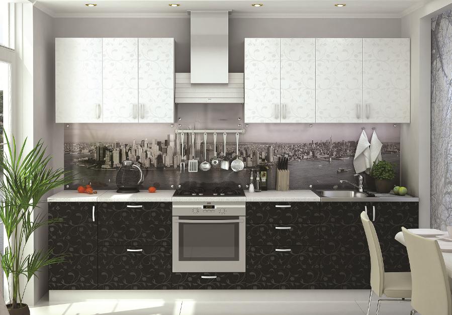 Кухня Дина черный/белый принт Стендмебель в Челябинске